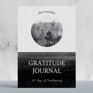gratitude journal with a peaceful forest watercolor illustration of a forest