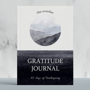 gratitude journal with a peaceful forest watercolor illustration of mountains
