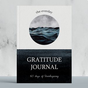 gratitude journal with a peaceful forest watercolor illustration of the sea