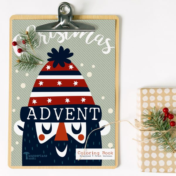 front cover of christmas advent calendar coloring book